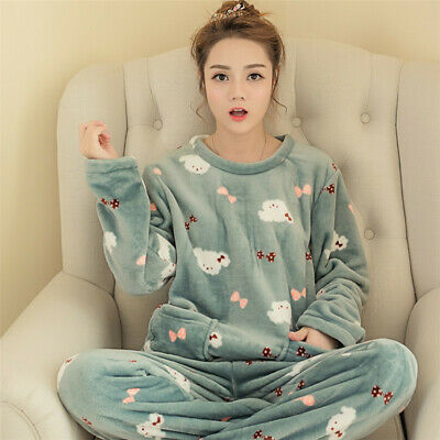 Womens Warm Fleece Winter PJ Pyjama Set Night Wear PJ's Pyjamas Sets Ladies New
