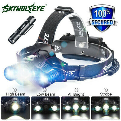 80000LM 3X XM-L T6 LED Headlamp Headlight Flashlight Rechargeable Torch Light UK