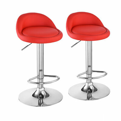 2X Bar Stools PU Leather Pub Stool Breakfast Bar Chair Barstool Chrome Kitchen