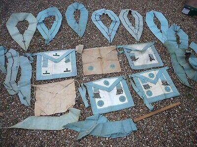 VINTAGE MASONIC APRONS and Collars   In used order   Large quantity of  Masonic