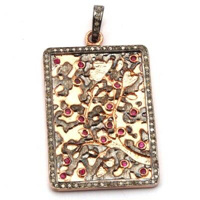 925 Sterling Silver Red Ruby & Diamond Pave Antique Gold Plated Pendant Jewelry