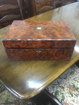Antique Burr Walnut & Inlaid Brass & Mother Of Pearl Writing Slope Restoration