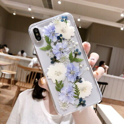 Daisy Real Dried Flower Clear Rubber Soft Case Cover For iPhone XS MAX XR 8 7 6+