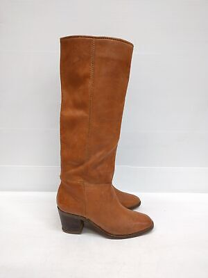 Size 36 Vintage Ladies Brown Hide Western Cowgirl Rock Leather high boots