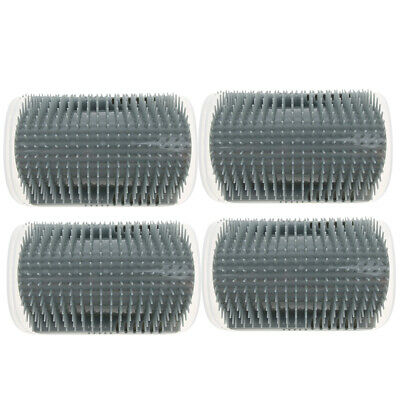 4 Pieces CAT WALL CORNER GROOMING MASSAGER COMB CAT GROOMER BRUSH GRAY