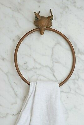 Antique Towel Ring Towel Rail Brass Vintage Bathroom Accessory Original Patina
