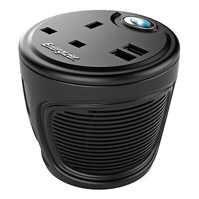 Energizer 120W Power Inverter Cup Holder 3 Chargeable Devices 2 x USB ports