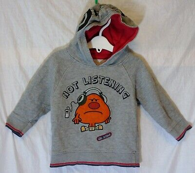 Baby Boys M&S Grey Mr Man Rude Not Listen Hoodie Hooded Jumper Age 18-24 Months