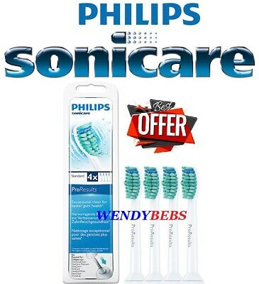 4 Genuine Philips Sonicare Proresults Hx6014 Toothbrush Replacement Heads