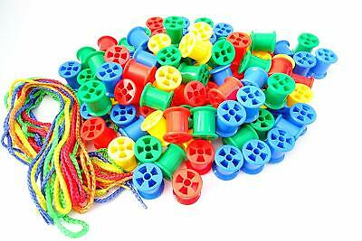 100 Cotton Reels & Threading Laces - Early Learning Fun Count Educational