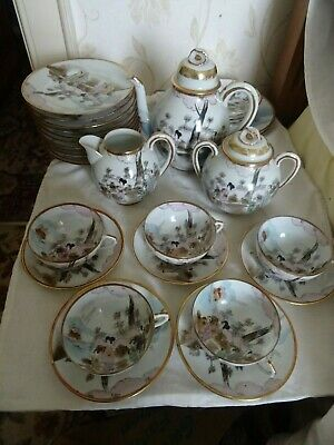 Antique/Vintage signed Japanese geisha eggshell tea set 30 pieces