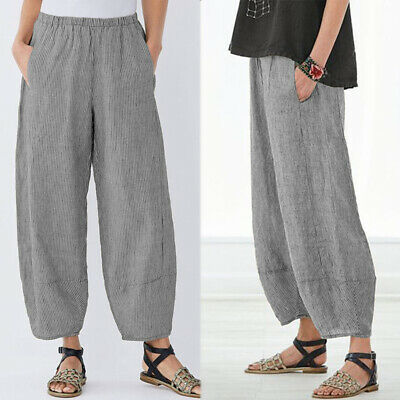 ZANZEA 8-24 Women Wide Leg Stripe Pants Culottes Plus Size Office Lady Trousers