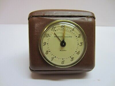 Vtg Bradley Rogers Wind Up Fold Out Case Travel Alarm Clock Parts Repair Display