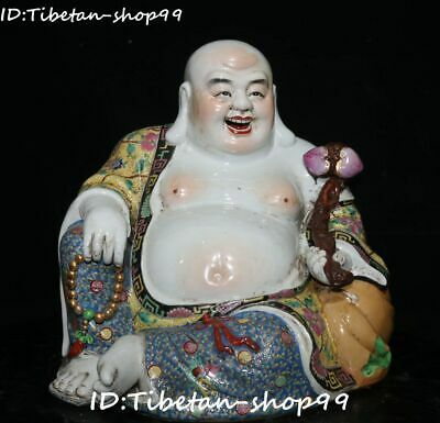 "16""Colour Porcelain Gilt Seat Happy Laugh Maitreya Buddha Hold Ruyi Ru Yi Statue"