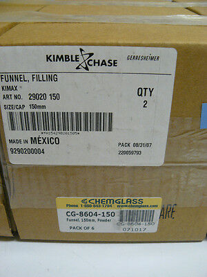 KIMBLE CHASE 29020 150 KIMAX FILLING FUNNELS 150mm NEW BOX OF 2