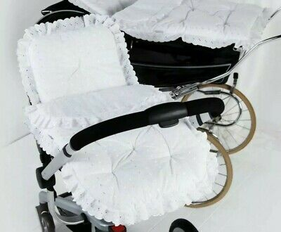 Broderie Anglaise Pram Set In White By Clair de Lune Round Pillowcase & Cover