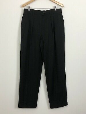 ESCADA MARGARETHA LAY Womens Black Vintage Pleated Wool High Rise Pants Size 42