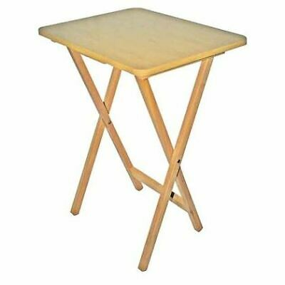 Natural Wooden Snack Table Compact Folding TV Laptop Coffee Side Table 65cm