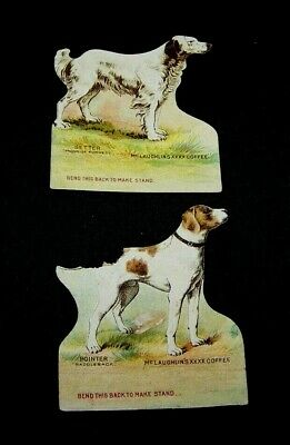 Pair -Antique Original Mclaughlin's Pointer & Setter Dog-Paper Doll-Stand Up