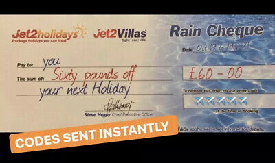 5 XNEW Jet2Holidays £60 Rain Cheque voucher Valid until OCT 2020 -DECEMBER CODES