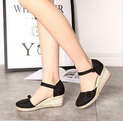 e2030daab0 Womens Ankle Strap Espadrille Closed Toe Shoes Ethnic Wedge Mid Heel Sandals