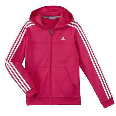 Adidas Girls Casual Pink White FZ Junior Sports Hoodie Hoody