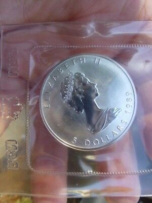 Mint Sealed 1989 Canadian Maple Leaf 1oz .9999 5 Dollar Coin