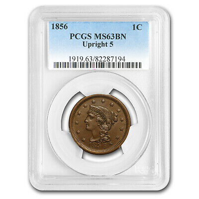 1856 Large Cent MS-63 PCGS (Brown, Upright 5) - SKU#169509
