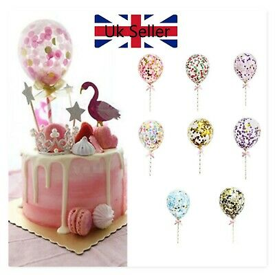 CONFETTI BALLOON CAKE TOPPER DECORATION PINK GOLD ROSE PURPLE BIRTHDAY BABY Uk