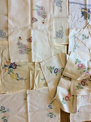 Vintage hand embroidered tablecloth Table Linens Tray Cloths Mixed Lot 10 Items