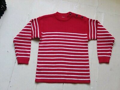 "Classic Kids Boys Girls Age 10 H55"" Breton Stripe Wool Jumper Nautical Buttons"