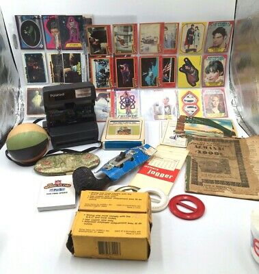 Junk Drawer LOT Vintage Superman Star Trek Almanac Polaroid Briar Pipe