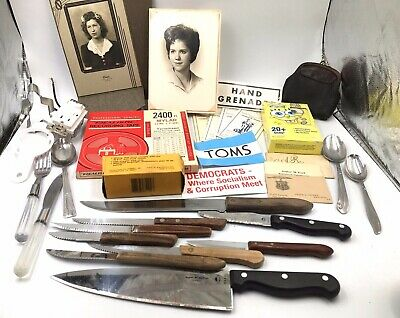 Junk Drawer LOT Vintage Knives Stickers Photo Sockets Recording Tape