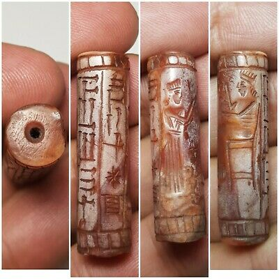 Sasanian Persia amyzing old agate cylinderseal bead