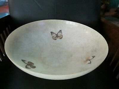 "Jumbo Large 15"" Dia Mid Century Modern Fiberglass Serving Bowl Vintage Butterfly"