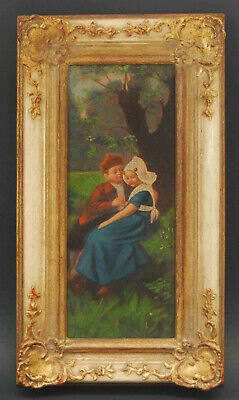 Antique German Hand Oil Painted Embellished Litho On Tin Young Lovers Framed
