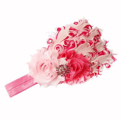 Baby Girls Lovely Feather Flower Headband Hair Band Headpiece Kids Infant W7A4