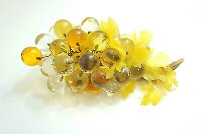 "Fantastic Vintage Lucite Acrylic Grape Cluster 14"" Long Amber, Yellow, Clear"
