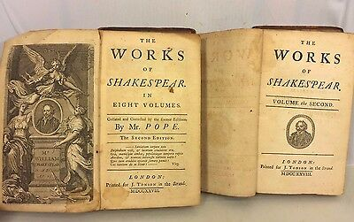 The Works of Shakespear 10 Volumes A Pope 1728 J Tonson Leather Covers 2nd Ed