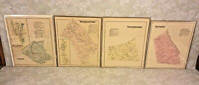 4 Antique Maps of York County PA 1876 by Beach Nichols Publ Pomeroy Whitman & Co