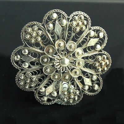Large Vintage Ornate Sterling Silver Brooch Pin Intricate Pattern 925 Silver