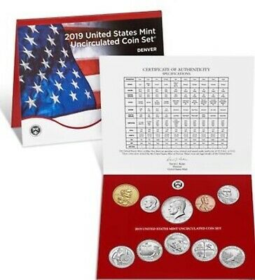2019-D US Mint Uncirculated Set Of 10 Coins Cent-Nickel-Dime-Quarter-Half-Dollar