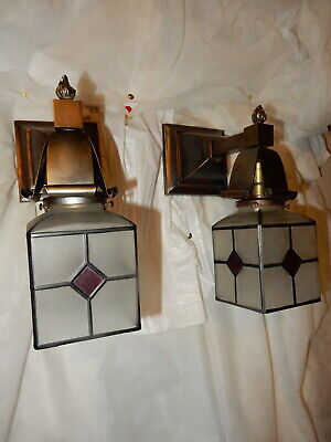 Simple Mission Style Arts and Crafts Sconces With Etched Shades Diamond Pattern