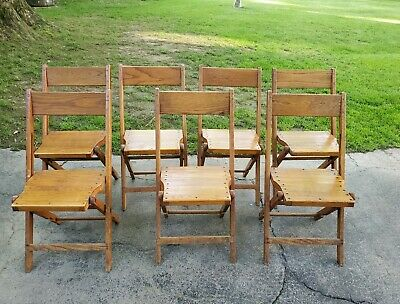 Vintage Snyder Antique Oak Wooden Folding Chairs Set Of 7 Nice Condition