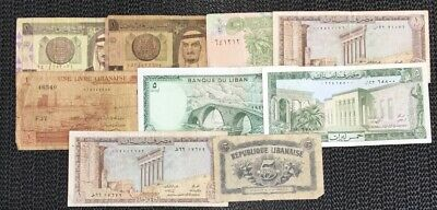 Mixed Middle East Banknote Lot Inc 1944 Lebanon 5 Piastres Banknote #5