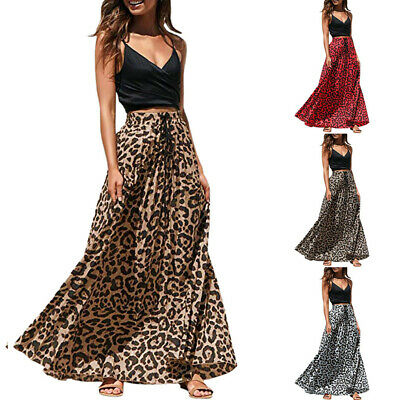 Womens Boho Leopard Print Long Drawstring Pleated High Waist Bohemian Maxi Skirt