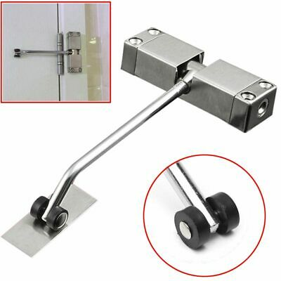 1pc Automatic Mounted Spring Door Closer Stainless Steel Adjustable Surface F9W8