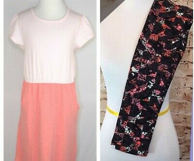 LuLaRoe Girls Size 12 Color Block Solid Pink Mae Dress & Tween Leggings NWT