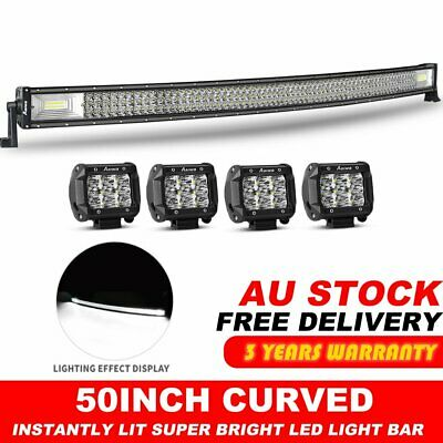 Tri-row 50Inch Curved LED Light Bar + 4x4'' CREE PODS For Jeep OFFROAD FORD SUV