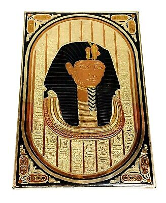 """Vintage Egyptian Revival Etched Copper Collectible Wall Decor Rectangle 10.5""""x7"""""""